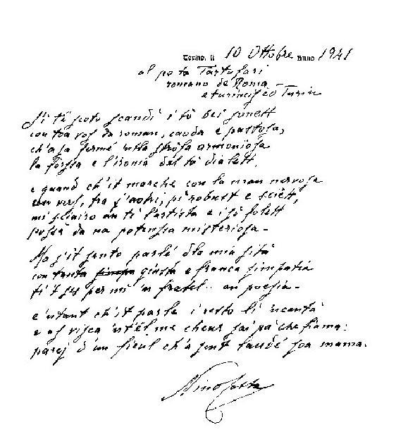 Sonetto autografo di Nino Costa